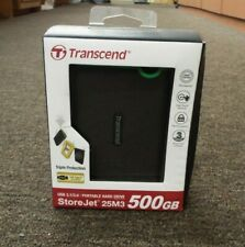 Transcend StoreJet 500GB Rugged USB 3.1 Slim External Portable Hard Drive