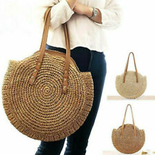 Women Boho Woven Handbag Summer Beach Tote Straw Bag Round Rattan Shoulder Purse