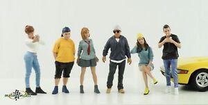 Figura Auto Incontrare 1 Autotreffen Boy Girl Set 6 Pz. 1:18 American Diorama N