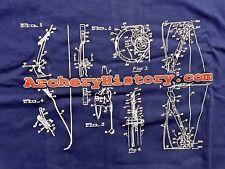 ArcheryHistory.Com Archery Bow Blueprint T-SHIRT (Adult XL)