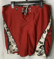 Men's Masters of Mayhem Custom Lost Enterprises Board Shorts 38 Red  Surf Swim