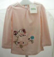 Baby Club haut manche longue blanc rayé rose motifs hérisson souris bébé 2 ans