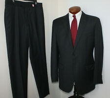 Saks Fifth Avenue Grey 2pc Suit 2 Button Flat Front Zegna Fabric USA SLIM 42L 36