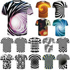 3D Pattern Optical illusion Mens Women Casual T-Shirt Sleeve Graphic Tee Tops