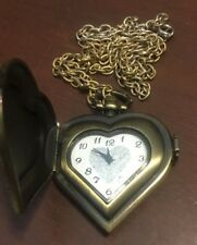 Women's  Heart Shaped Bronze Toned Necklace Watch With Cover and Chain # 472