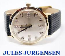 Vintage Solid 14k JULES JURGENSEN Mens 17J Winding Watch 1960s w/Diamonds* EXLNT