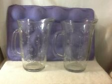 Large Very Heavy Vintage Glass Pitcher with Embossed Flowers pre-owned Must Have