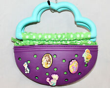 CROCS Little Girl Zip Purse w/ 9 Disney Charms Jibbitz Purple Blue Green