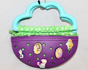 CROCS Little Girl Zip Purse w/ 9 Disney Charms Jibbitz Purple Blue Green