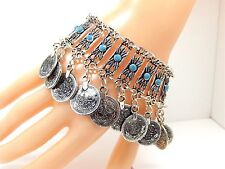 Womens Silver Bracelet Boho Coin Charm Turquoise Antalya Anklet Adjustable UK
