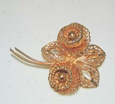 Delicate Vintage COROCRAFT 3D Filigree Gold Tone Floral Flower Pin Brooch