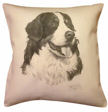 More details for bernese mountain dog ms cotton cushion cover - cream or white cover - gift item