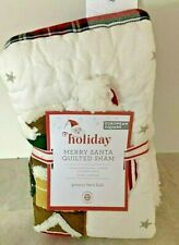 Pottery Barn Kids Merry Santa Holiday quilted EURO shams Christmas NEW 2019