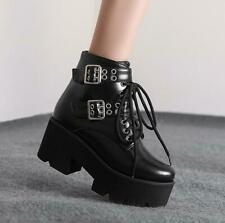 Womens Fashion Punk Lace Up Buckle Strap Ankle Boots Chunky Mid Heels Shoes DIWX