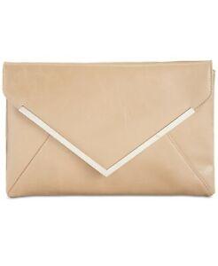 NEW INC Lily Glazed Faux Leather Clutch Handbag with Chain Strap NWT! Tan Silver
