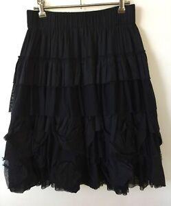 New Fenella Peacock Designer Ruffled Black Skirt Size 1. 8/10/12