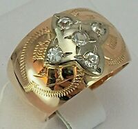 Vintage Original Soviet Solid Rose Gold Ring  with Cubic Zirconia 585 14K USSR