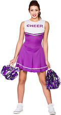 Ladies High School Cheerleader Purple Fancy Dress up Party Costume Halloween S