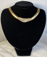 Vintage Burberrys Tubogas Omega Chain Heavy Wide Collar Necklace Gold Plated