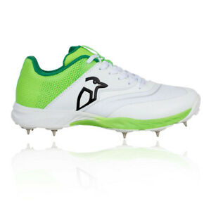Kookaburra Mens KC 2.0 Cricket Spikes - Green White Sports Breathable