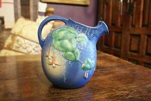 Rare Roseville Pottery #1322 Blue Fuschia 1938 Ice Lip Water Pitcher