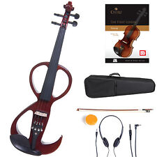 Cecilio Size 4/4 Electric Violin Ebony Fitted ~ Red Style3