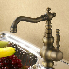 Vintage Brass Kitchen Sink Mixer Tap Swivel Spout One Hole Vessel Counter Faucet