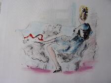 """DIGNIMONT / LITHOGRAPHIE signée """" La robe bleue """"  38x28 1946"""
