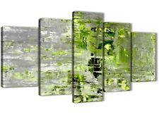 Lime Verde Grigio pittura astratta arte STAMPA su TELA-parte 5-larghezza 160 cm - 5360