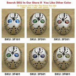 CZ Eyes 316L Stainless Steel Men Biker Punk Jason Hockey Ring 3FX01D US 7~15