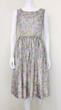 Vtg 50's L'aiglon Pink Watercolor Silk Fit Flare Belted Pin-Up Dress Size 14 EUC