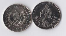 GUATEMALA 2000 25 CENTS NI UNC
