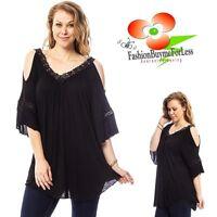 Haute BOHO Black Victorian Crochet Lace Open Shoulder Peasant Tunic Top 1X 2X 3X