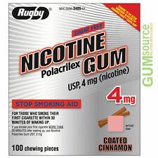 Rugby Nicotine Gum 4MG Stop Smoking Aid Coated Cinnamon Flavor 100 Count 1 Pack