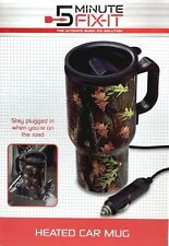 5 minute Fix-It Heated Wood Leaf Camouflage with Lid Car Coffee Mug 13oz  New