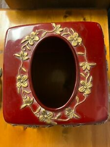 Arabella Resin Tissue Box Cover/Holder in Burgundy