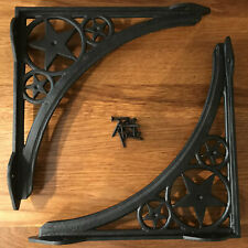 Pair Cast Iron Lotus Flower Shelf Brackets