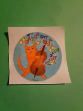 vintage 80's EHM music cat cello sticker *restored*(free ship $20 min)