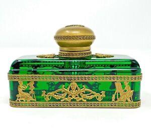 19th Century French Empire Emerald Green Glass & Bronze Ormolu Inkwell