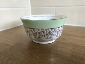 Vintage T Forester & Sons Phoenix Ware Green And Gold Bone China Sugar Bowl