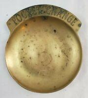 """VINTAGE Solid Brass """"Pocket Change"""" Dresser Top Dish Key Holder Trinket Dish"""