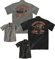 Velocitee Mens Mechanic Work Shirt Rusty Nuts Hot Rat Rod Rockabilly W13645