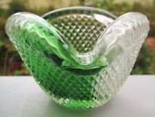LOVELY VINTAGE GREEN AND CLEAR ART GLASS ASH TRAY/BOWL