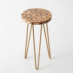 Garden Wood Table with Metal Legs for Balcony Living Room Hallway Furniture