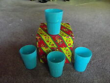 Ultra Rare Drinking Tumblers Glasses cups Aqua Flashed Signed Blue Bell vintage
