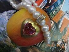 Oro serie 750 Rosa Turmalina Corazón 21,5ct / Brillante 0 50qt Clip Colgante