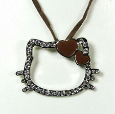 Pendentif Hello Kitty coeur marron cordon marron