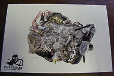 1969 CHEVROLET ONE HUNDRED YEARS ENGINE ILLUSTRATIONS BY DAVID KIMBLE POSTCARD