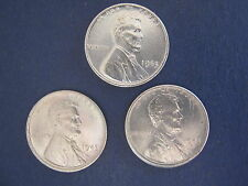Trio of Brilliant Uncirculated Zinc (War Time) Lincoln Cents