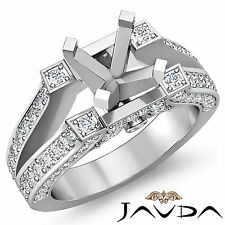 Wedding Diamond Pre-Set Ring 14k White Gold Round Semi Mount 0.71Ct Split Shank